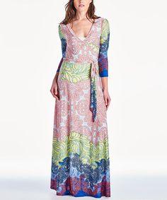 Pink & Blue Arabesque Maxi Dress #zulily #zulilyfinds