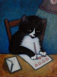 8 x 10 Charlie tuxedo cat print Pretty Art, Cute Art, Art And Illustration, Illustrations, Arte Peculiar, Bd Art, Writing A Love Letter, Arte Obscura, Oui Oui