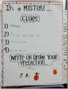Descriptive words, could infer, Mystery! See the printable that goes with the Mystery.