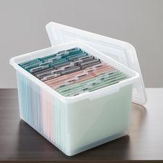 Create a safe storage for your important documents with Letter/Legal File Box with Lid. This durable plastic container will maximize your file storage. box with handle The Perfect File Storage To Secure Your Office Needs File Box Organization, Office Organization At Work, Organizing Paperwork, Home Office Storage, Container Organization, Organising, Organization Hacks, Safe Storage, Desk Storage