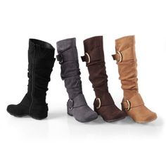 Amazon.com: Brinley Co Buckle Accent Slouchy Mid-calf Boots: Shoes