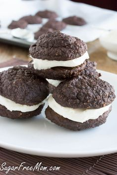 Chocolate Oatmeal Whoppie Pies made sugar free, gluten free, low carb