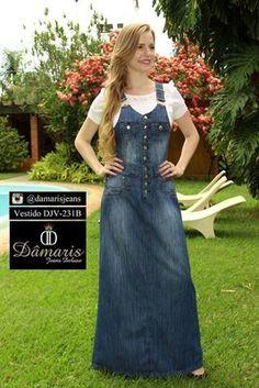 DJV231B - Vestido Jardineira - Dâmaris Jeans Deluxe