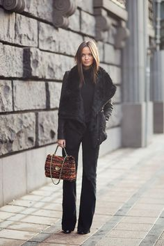fur jacket with flared pants