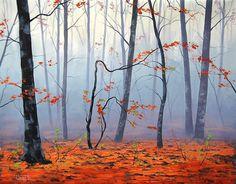 artsaus, naturaleza, árboles, otoño, hojas, niebla wallpaper