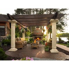 Outdoor GreatRoom Tuscany II Deluxe Reinforced Fiberglass Pergola with Supports