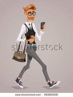 Happy Businessman with a briefcase looking at his smartphone. Lifestyle business. Cartoon style. Isolated vector illustration