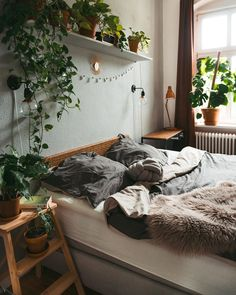 Modern Bohemian Bedrooms & Home Interior Decor Ideas Room Ideas Bedroom, Small Room Bedroom, Bedroom Themes, Bedroom Decor, Small Rooms, Nature Bedroom, Best Bedroom Plants, Lighting Ideas Bedroom, Nature Inspired Bedroom