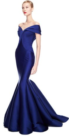 Zac Posen Stretch Duchess Offtheshoulder Gown in Blue (Cobalt) | Lyst