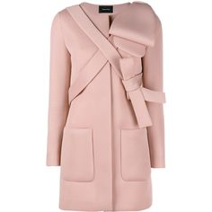 Simone Rocha Neoprene Bow Coat (5.425 RON) ❤ liked on Polyvore featuring outerwear, coats, jackets, coats & jackets, light pink, light pink coat, summer coat, long sleeve coat, pink coat and simone rocha