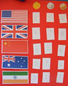 Olympic medal chart  Idea: could have the kids compete as different countries and keep track of wins on paper each week