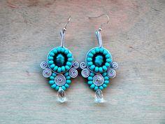 Teal grey Soutache earrings Murano glass earrings by ShoShanaArt