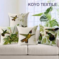 Hand painted Hummingbird Square Cushion Cover Decorative Pillows Covers Funda Cojin Housse De Coussin Vintage Home Decor