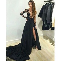 2016 sexy prom dress, long black prom dress, lace prom dress, long sleeve prom dress, cheap prom dress, unique prom dress, popular prom dress, 15123