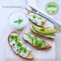 """These homemade sourdough bread chips are topped with a whipped feta spread and fresh avocado. A """"skinny snack"""" developed by Lucy at Supergolden Bakes"""