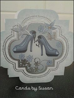 Cards by Susan ~ A pretty card with a stiletto shoe theme This card is blank inside, but a nice verse can be added for free, just pop a note on the order. Will be posted 1st class