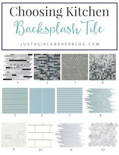 There are so many things to consider when choosing a backsplash tile. This post helps narrow it down, and I love her examples! | JustAGirlAndHerBlog.com