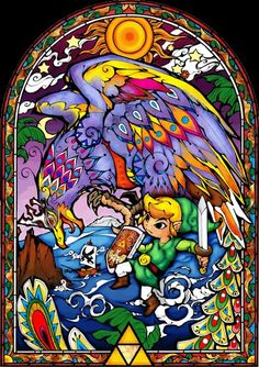 View an image titled 'Helmaroc King & Link Stained Glass Window Art' in our The Legend of Zelda: Wind Waker art gallery featuring official character designs, concept art, and promo pictures. The Legend Of Zelda, Legend Of Zelda Poster, Princesa Zelda, Link Zelda, Zelda Hd, Wind Waker, Counted Cross Stitch Patterns, Cross Stitch Embroidery, Wind Cartoon