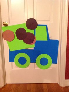 Pin the load on the dump truck. Construction theme birthday party