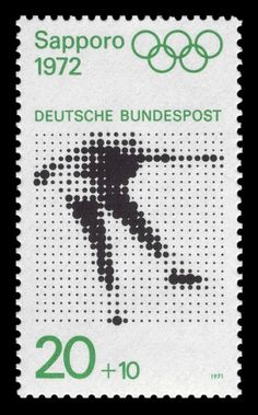 Postage stamp commemorating the 1972 Winter Olympic Games in Sapporo, Germany Graphic Design Typography, Graphic Design Illustration, Graphic Prints, Postage Stamp Design, Postage Stamps, Helmut Schmid, German Stamps, Love Stamps, Identity