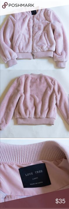 Baby pink faux fur Bomber Jacket!! Worn once! Size large but fits perfect for a bomber jacket with a little bit space - If you normally wear M size jackets like myself - perfect condition, super soft plush faux fur. Saying inside. All photos are of the actual jacket Nordstrom Jackets & Coats