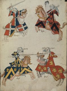 Coloured drawings of combatant mounted knights in armour and tabard (f°17). -- «Military Roll of Arms» (manuscript also known as «Sir Thomas Holme's Book of Arms»), London? (England), ca1446 [BL Ms Harley 4205].