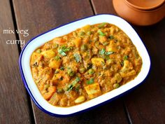 mixed vegetable curry or sabzi recipe prepared mainly with choice of vegetables. it can be ideal north indian cuisine curry recipe for roti or chapathi with flavors from all the veggies. Paneer Recipes, Curry Recipes, Vegetable Recipes, Indian Food Recipes, Vegetarian Recipes, Cooking Recipes, Cooking Ideas, Soup Recipes, Mix Veg Recipe