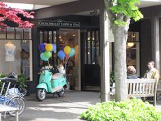 Beautiful knitting shop on Bainbridge Island near Seattle - love the scooter out front!