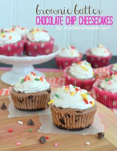 Brownie Batter Chocolate Chip Cheesecake recipe ~ mini cheesecakes using a box brownie mix and chocolate chips