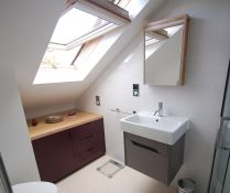 Bespoke birch plywood bathroom vanity unit in Hackney. Bathroom Vanity Units, Bathroom Cabinets, Bathroom Furniture, Contemporary Bathrooms, Modern Bathroom, Bespoke Furniture, Furniture Design, Cabinet Makers, Bathroom Inspiration