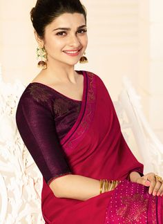 Buy latest saree, Red georgette embroidered sarees, u neck now in shop. Andaaz Fashion brings latest designer ethnic wear collection in US Trendy Sarees, Fancy Sarees, Bollywood, Prachi Desai, Ethnic Wear Designer, Latest Sarees, Georgette Sarees, Indian Ethnic Wear, Saree Collection