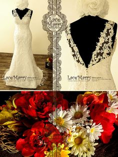 Magical HandBeaded Flower Appliqué Lace Wedding Dress by LaceMarry
