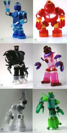 Robots con trozos de botellas plásticas recicladas...  Bottlerobot.  Antoine Geoffrion crea robots elaborados íntegramente con botellas de plástico. Algunos de los robots son autenticas obras de arte Su iniciativa demuestra que con algo de creatividad, se le puede sacar un provecho adicional a esas botellas plásticas, que alegremente botamos casi a diario. Cada pieza de una botella sirve para la construcción de un robot original.  Estas piezas pueden ser apreciadas en el sitio del artista Bottlerobot.com. Donde podrás ponerte en contacto con él y acceder a su tienda online, donde se venden los robots, Con este tipo de iniciativas se demuestra que lo más importante NO es contar con un alto presupuesto para realizar un proyecto, pues lo que realmente importa es tener la determinación y creatividad.  Ingeniosos, buenos para poner a trabajar la imaginación... Entonces a trabajar y de paso a reciclar...