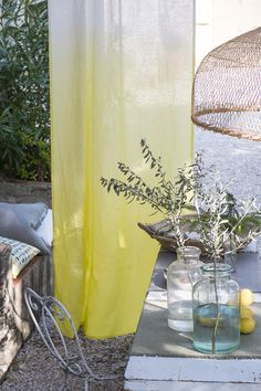 Summer Living - Designer's Guild - yellow ombre curtain