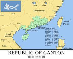 Republic of Canton, 1899 (Rumelian Universe) by xpnck on DeviantArt Taiping Rebellion, British Hong Kong, Asia Map, Crimean War, Blue Green Eyes, France 2, Alternate History, Fantasy Setting, Cartography