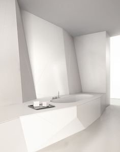 Futuristic white bathroom, Eclettico by Makro _
