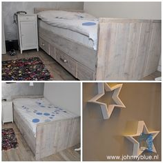 Bed Sterre - steigerhout - incl. 2 diepe laden - made by JohnnyBlue.nl Storage Chest, Bench, Cabinet, Furniture, Home Decor, Clothes Stand, Decoration Home, Room Decor, Closet