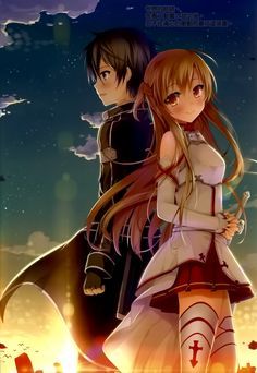 sao wallpaper kirito and asuna sunset - Google Search