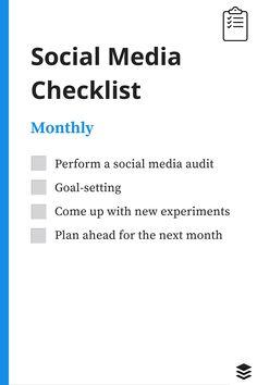 monthly social media checklist - https://blog.bufferapp.com/daily-social-media-checklist
