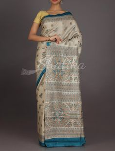 Shruti Beige With Traces Of Blue #MadhubaniHandPaintedSaree