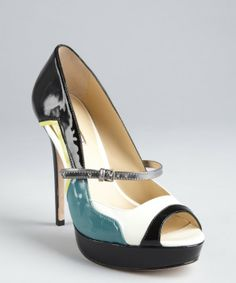 Charles David : black and teal patent leather colorblock 'Tasset' pumps : style # 323378801