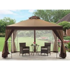 Outdoor Gazebo 12X10 Patio Canopy Garden Tent Shade Shelter Steel Frame Curtain  #Unbranded