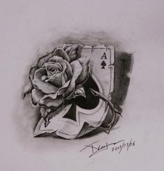 Return to thumbnails. next image - by ok done at west 4 tattoo Rose Drawing Tattoo, 4 Tattoo, Card Tattoo, Tatoo Art, Tattoo Sketches, Tattoo Drawings, Rose Tattoos, Flower Tattoos, Body Art Tattoos