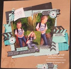 Bold 12x12 scrapbook pages using Petal Parade, Happy Watercolor, Chevron Border Punch and more new products from Stampin' Up!® - Stamp Your ...