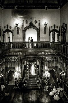 Allerton Castle Wedding images by Bristo Photography Beautiful shot taken on the grand stair case Wedding Anniversary Photos, 1st Anniversary, Abandoned Castles, Abandoned Homes, Wedding Stairs, Carlton Towers, Stone Mansion, Cottages And Bungalows, Wedding Images