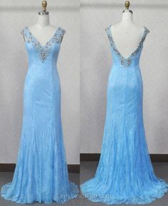 Mermaid Prom Dresses, Lace Prom Dress, V Neck Evening Gowns, Light Sky Blue Party Dresses, Low Back Formal Dresses