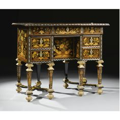 A fruitwood, tulipwood, stained sycamore marquetry and pewter inlaid bureau brisée, in the manner of Pierre Gole Louis XIV, circa 1680 the hinged top inlaid with a cartouche with stylised scrolls enclosing floral sprays opening to reveal an interior with seaweed marquetry panelled decoration and three short drawers with a hinged fall-front, above a kneehole door flanked on either side by two short drawers, on eight square tapering legs