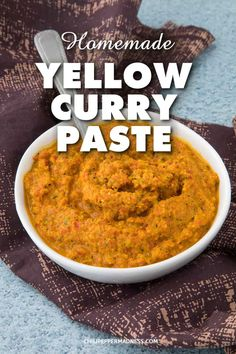 Homemade Yellow Curry Paste - Use this easy yellow curry paste recipe to make your own fresh homemade spicy curries, sauces, soups and stews. Spicy Chicken Recipes, Thai Recipes, Curry Recipes, Indian Food Recipes, Thai Yellow Chicken Curry, Thai Yellow Curry Paste, How To Make Curry, Curry Seasoning, Homemade Curry