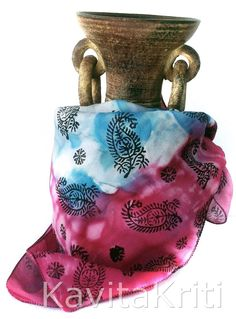 Hand painted small square silk scarf with paisley block print by KavitaKriti on Etsy  https://www.etsy.com/listing/177192864/handpainted-silk-scarf-square-bandana?ref=listing-shop-header-0