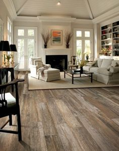 Flooring Ideas for Living Room. Here are elegant, luxurious, beautiful and family friendly flooring for living room floor. Style At Home, Home Living Room, Living Room Decor, Living Area, Kitchen Living, Fireplace In Living Room, Dark Wooden Floor Living Room, Living Room Ceiling Ideas, Rustic Living Rooms